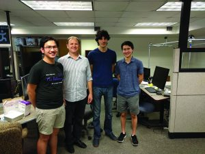 The IHMC Cybersecurity team's Bitcoin project. Pictured (left to right) is Quan Do '19, Larry Bunch, Michael Vignati, Daniel Yu '20.